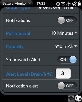 Screenshot der Einstellungen von Battery Monitor mit installiertem Patch