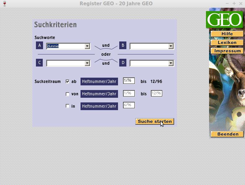 Screenshot einer Sucheingabe im GEO PC-Register