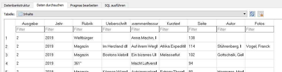 Ausschnitt der SQLite-Datenbank mit den Einträgen des GEO-Arc