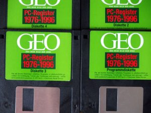 Vier Disketten mit dem GEO-Register 1976-1996