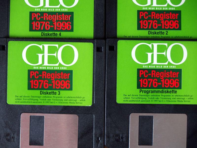 Vier Disketten mit dem GEO-Register 1976-1996