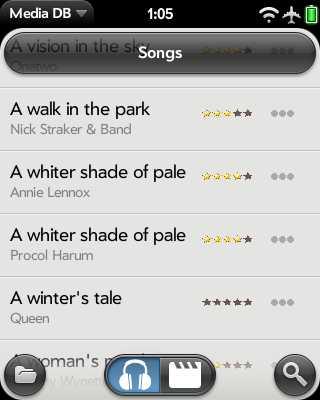 Eine Liste mit Liedern