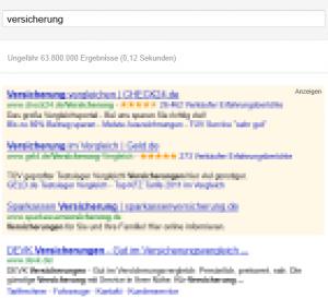 Screenshot der Google-Standardansicht