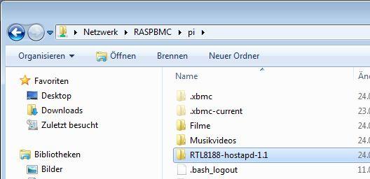 Dateien werden in den Raspberry Pi kopiert