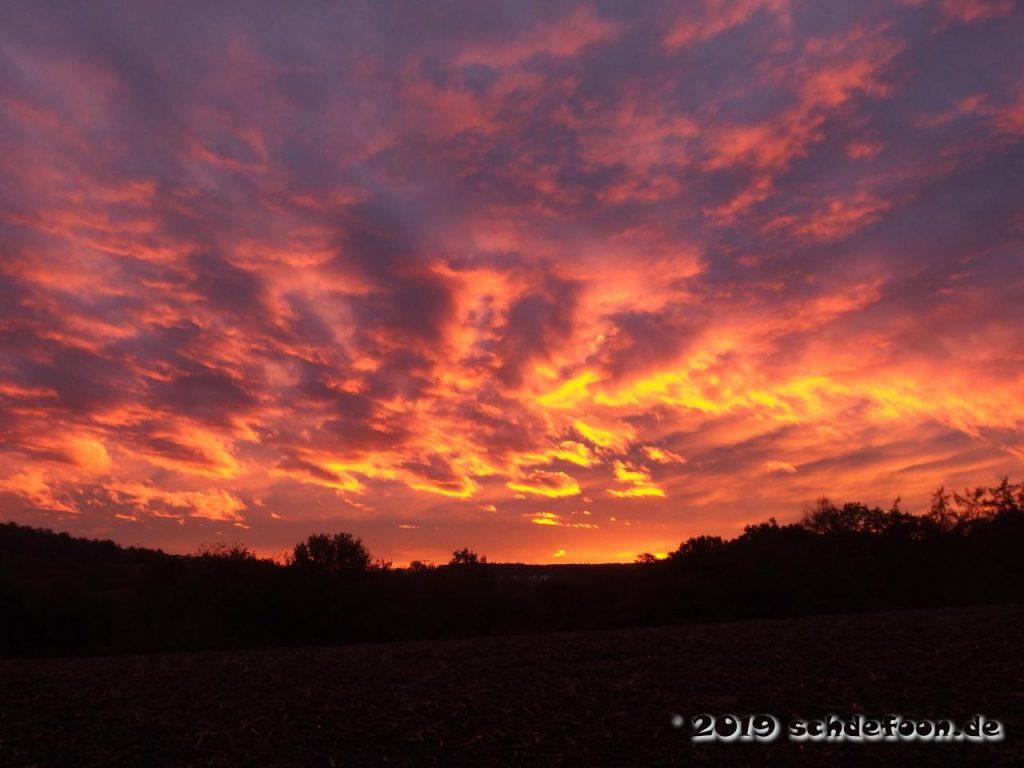 Orange und gelb gefärbte Wolken beim Sonnenuntergang über einem Feld