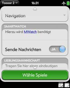 Ein Schalter aktiviert das Senden von Nachrichten