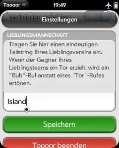 Screenshot der Toooor-App mit Eingabefeld für den Lieblingsverein