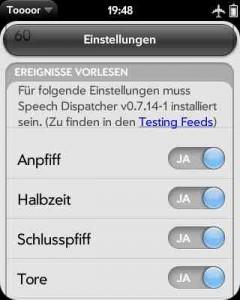 Screenshot der Toooor-App mit Einstellungen zur Sprachausgabe