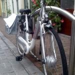 Fahrrad mit Blumen am Lenker