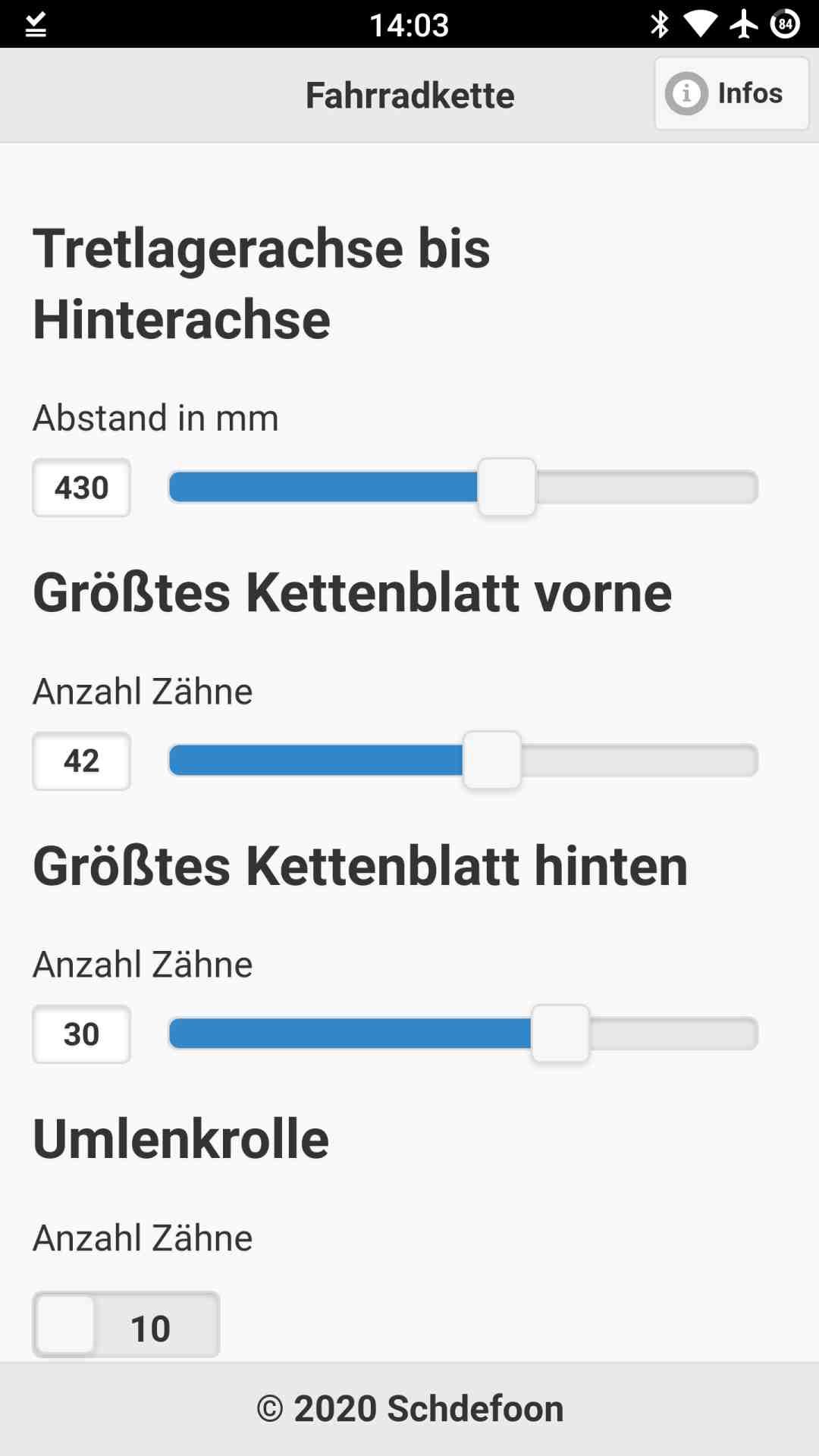 Hauptansicht der Android App für Fahrradketten mit Einstellmöglichkeiten