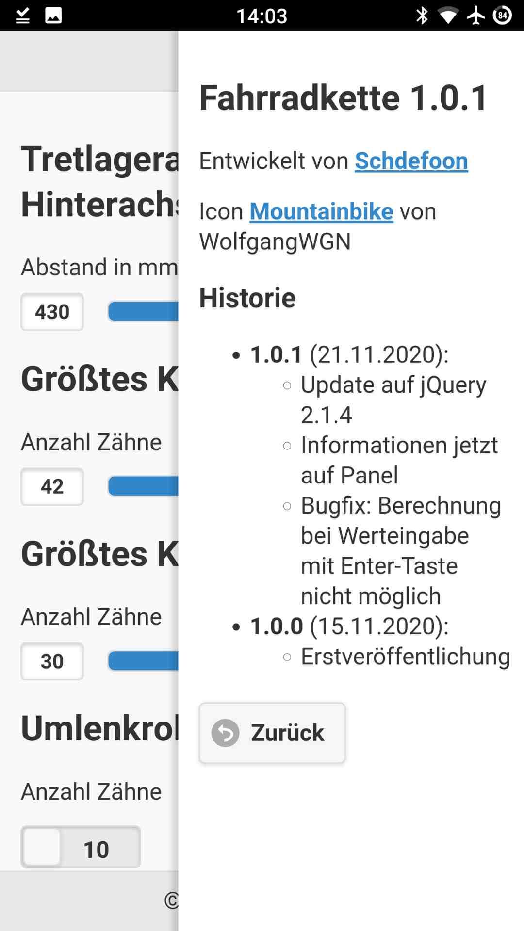 Das Info-Fenster der Fahrrad-App mit Angaben zum Entwickler und zur Historie