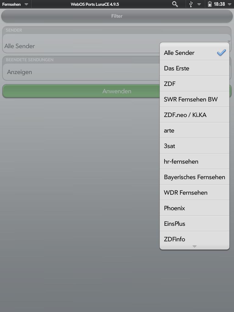 Screenshot des Senderfilters