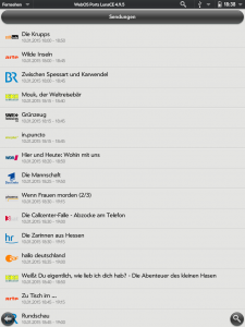 Screenshot der Sendungsübersicht