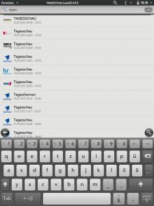 Screenshot der Suchfunktion