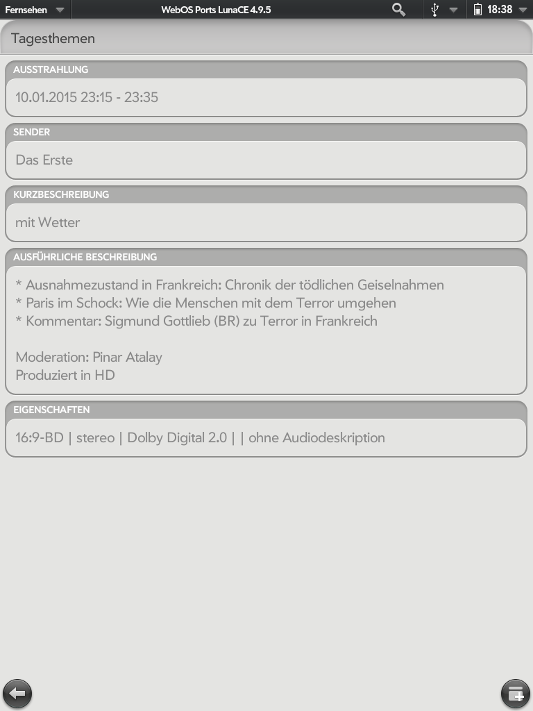 Screenshot der Sendungsdetails