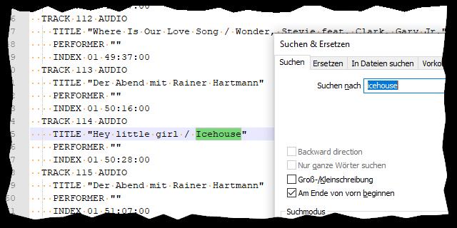 In einer cue-Datei werden die in der Aufnahme abgespielten Titel angezeigt