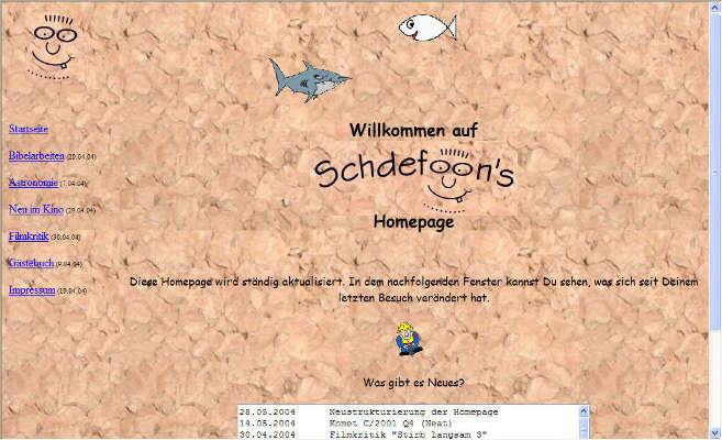 18.03.2004 - Schdefoon's Homepage wird beim österreichischen Anbieter heim.at hochgeladen. Zuvor war die Website mit Hilfe von de.selfhtml.org und dem Editor phase5 offline erstellt worden. Zu Beginn waren Frames für mich ein 'must have', so dass mein erster Auftritt in Frame-Technik erstellt wurde. Dementsprechend wichtig war ein Anbieter, der das unveränderte hochladen von html-Dokumenten ermöglichte. Die zwei Fische schwammen damals noch in unterschiedliche Richtungen (wie man auf den folgenden Bildern erkennen kann). Auf http://schdefoon.heim.at kann die inzwischen verwaiste Seite noch im Originalzustand betrachtet werden.
