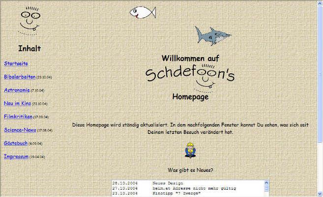 28.10.2004 - Und wenn man sich schon in einer neuen Community vorstellt und die Seite frisch portiert ist, kann man natürlich auch gleich das Design umkrempeln. Statt Kork- gab es ab jetzt einen Leinenhintergrund. Später folgte der Einbau eines ersten Javascripts, das das Nachladen des Navigationsframes ermöglichte, falls jemand eine Inhaltsseite außerhalb des Frames aufrief.