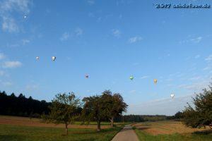 Sieben Ballone sind über einer Feldlandschaft am blauen Himmel zu sehen