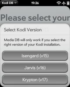 Auswahldialog für Kodi-Versionen