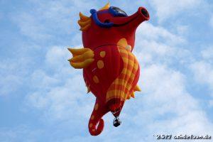 Heißluftballon in der Form eines Seepferdchens mit Taucherbrille