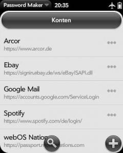 Screenshot der Kontenliste in PasswordMaker