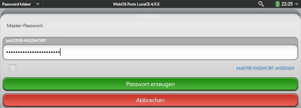 PasswordMaker für webOS