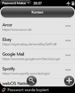 Screenshot der Benachrichtigung bei Generierung des Passwortes