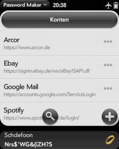 Screenshot der Passwortanzeige