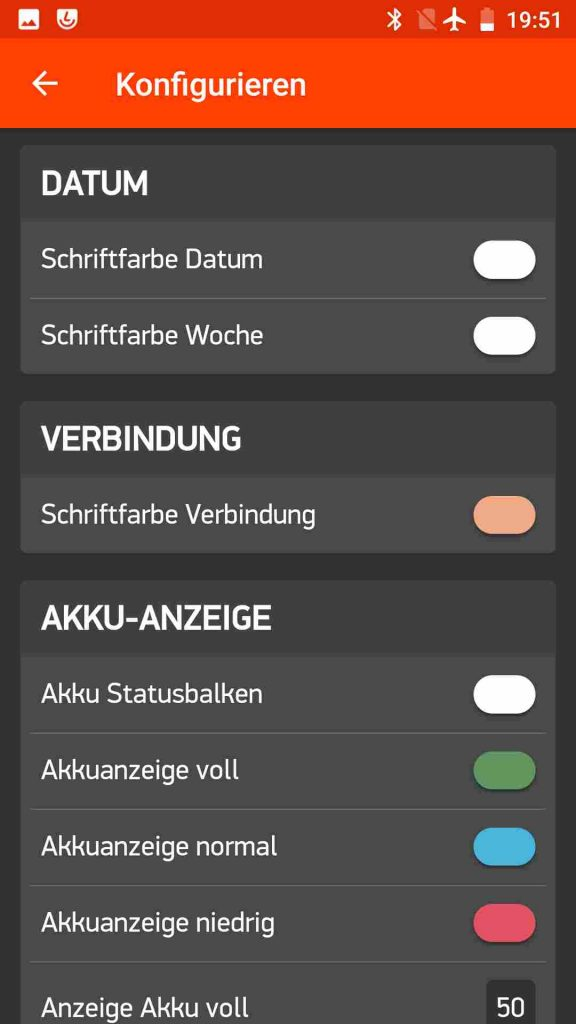 Screenshot der Smartphone App mit Einstellmöglichkeiten für Datumsbereich und Verbindungsanzeige