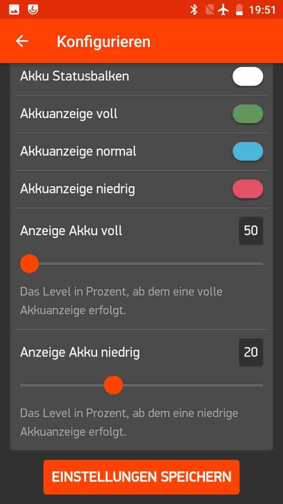 Screenshot der Smartphone App mit Einstellmöglichkeiten für die Akku-Statusanzeige