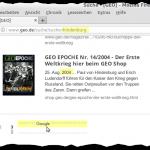 Screenshot eines Suchergebnisses auf geo.de