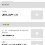Screenshot der Suchergebnisse in der GEO-App