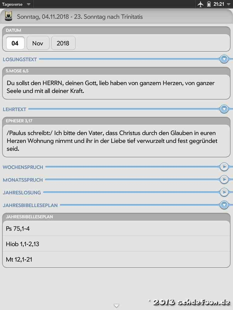 Screenshot der App Tagesverse auf einem HP Touchpad Losungen und ein Jahresbibelleseplan sind zu sehen.