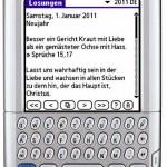 So sieht der aktuelle Entwicklungsstand des Losungsmoduls für 2011 auf einem Palm Tungsten C aus