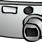 Kontrastreiche Grafik einer Kamera