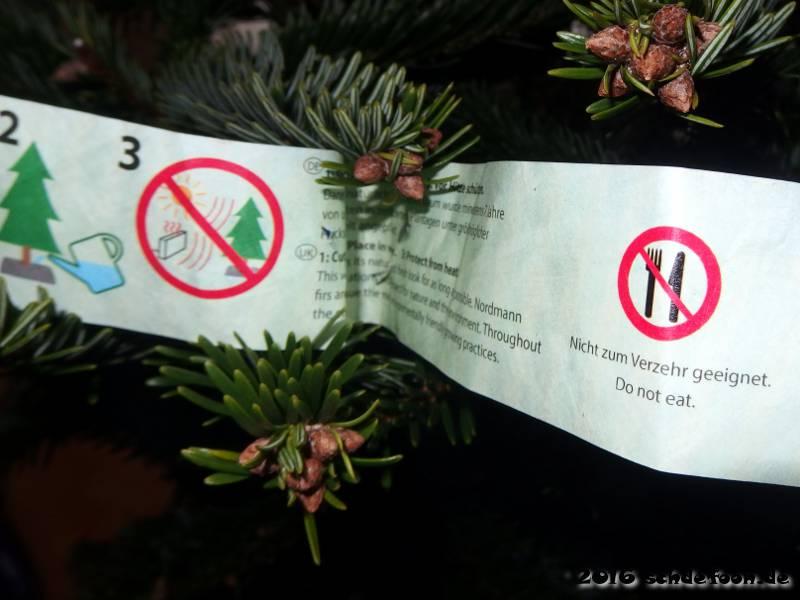 Etikett mit der Aufschrift 'Nicht zum Verzehr geeignet'